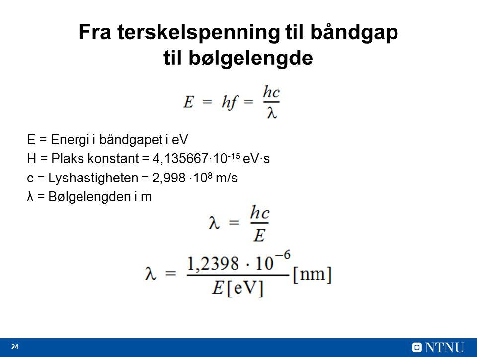 24 Fra terskelspenning til båndgap til bølgelengde E = Energi i båndgapet i eV H = Plaks konstant = 4,135667∙10 -15 eV∙s c = Lyshastigheten = 2,998 ∙10 8 m/s λ = Bølgelengden i m