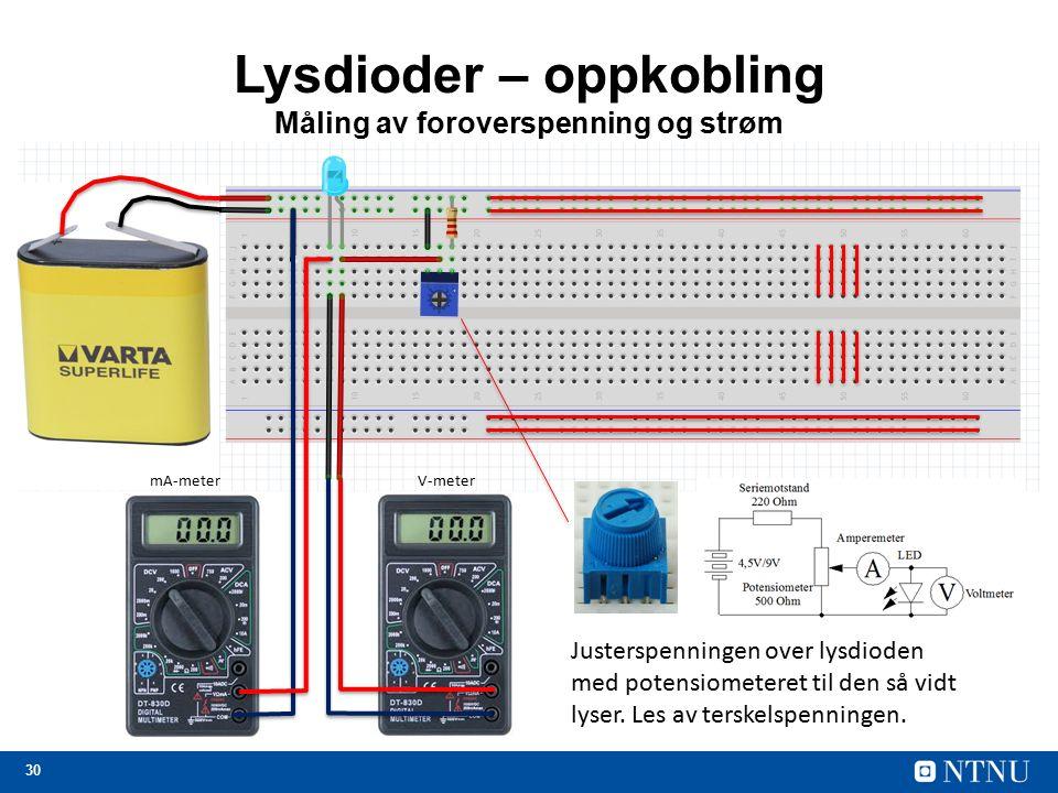 30 Lysdioder – oppkobling Måling av foroverspenning og strøm Justerspenningen over lysdioden med potensiometeret til den så vidt lyser.