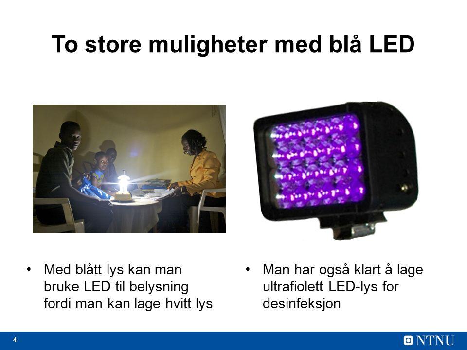4 To store muligheter med blå LED Med blått lys kan man bruke LED til belysning fordi man kan lage hvitt lys Man har også klart å lage ultrafiolett LED-lys for desinfeksjon