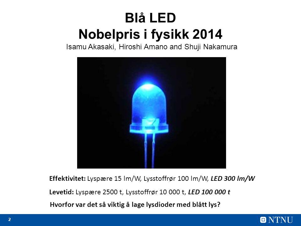 2 Blå LED Nobelpris i fysikk 2014 Isamu Akasaki, Hiroshi Amano and Shuji Nakamura Effektivitet: Lyspære 15 lm/W, Lysstoffrør 100 lm/W, LED 300 lm/W Levetid: Lyspære 2500 t, Lysstoffrør 10 000 t, LED 100 000 t Hvorfor var det så viktig å lage lysdioder med blått lys?