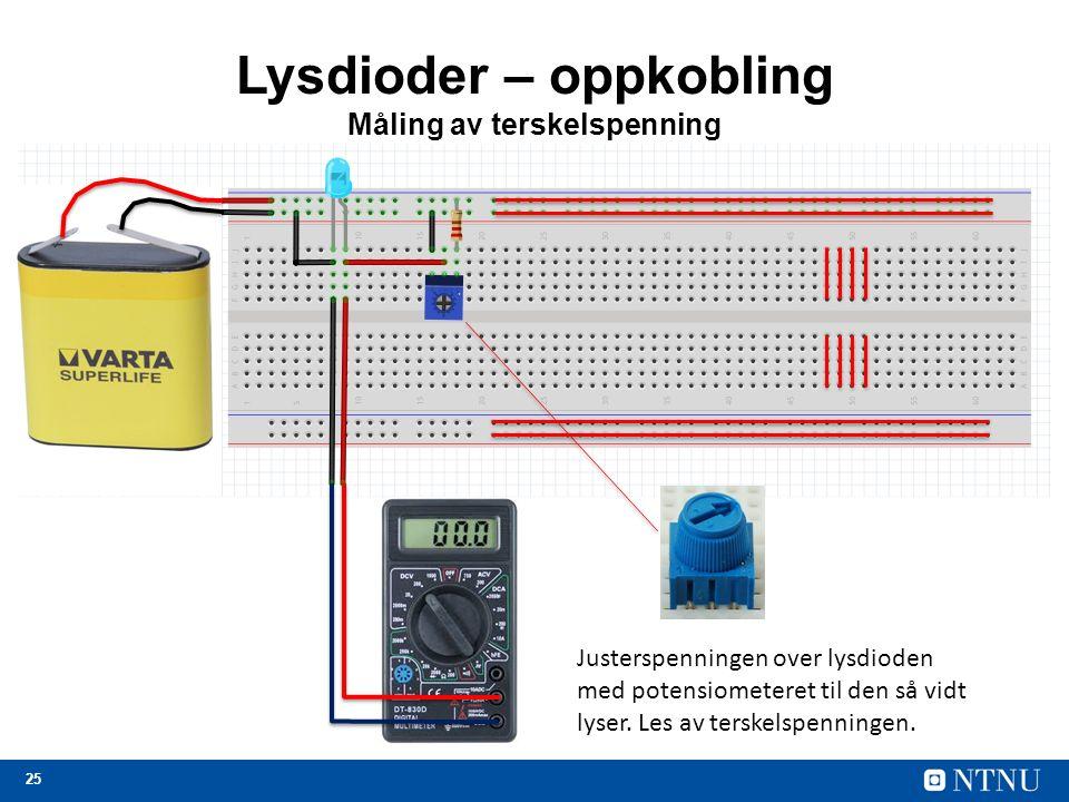 25 Lysdioder – oppkobling Måling av terskelspenning Justerspenningen over lysdioden med potensiometeret til den så vidt lyser. Les av terskelspenninge