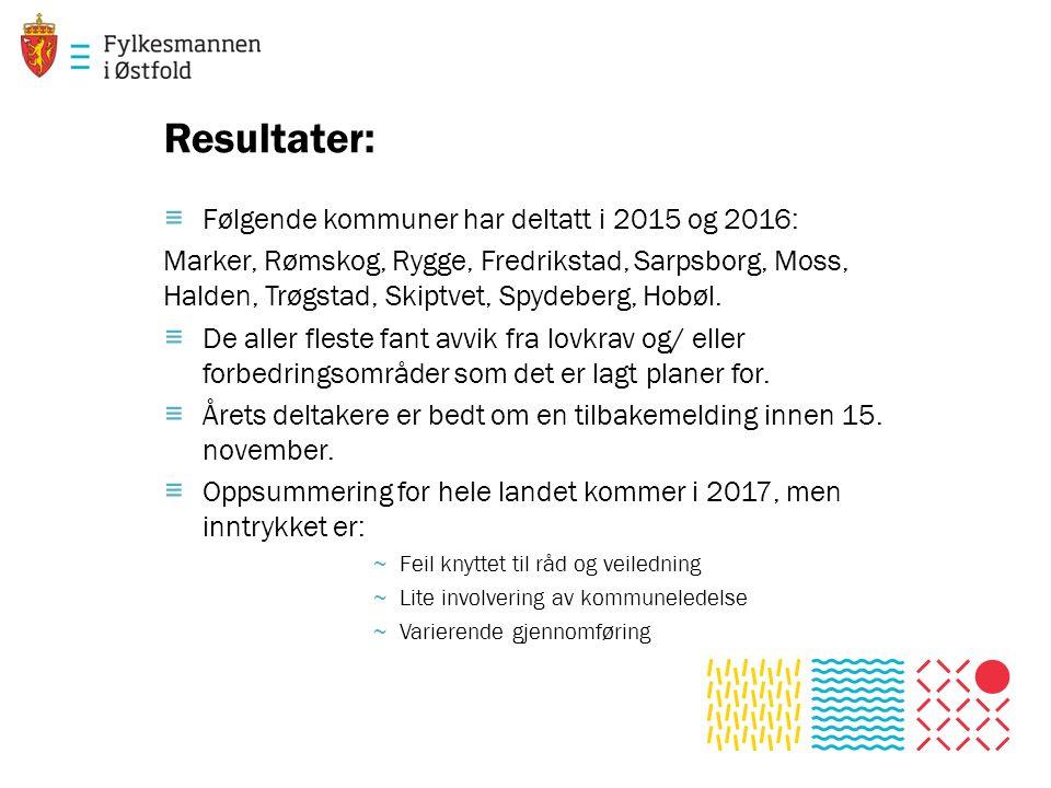 Resultater: ≡ Følgende kommuner har deltatt i 2015 og 2016: Marker, Rømskog, Rygge, Fredrikstad, Sarpsborg, Moss, Halden, Trøgstad, Skiptvet, Spydeberg, Hobøl.