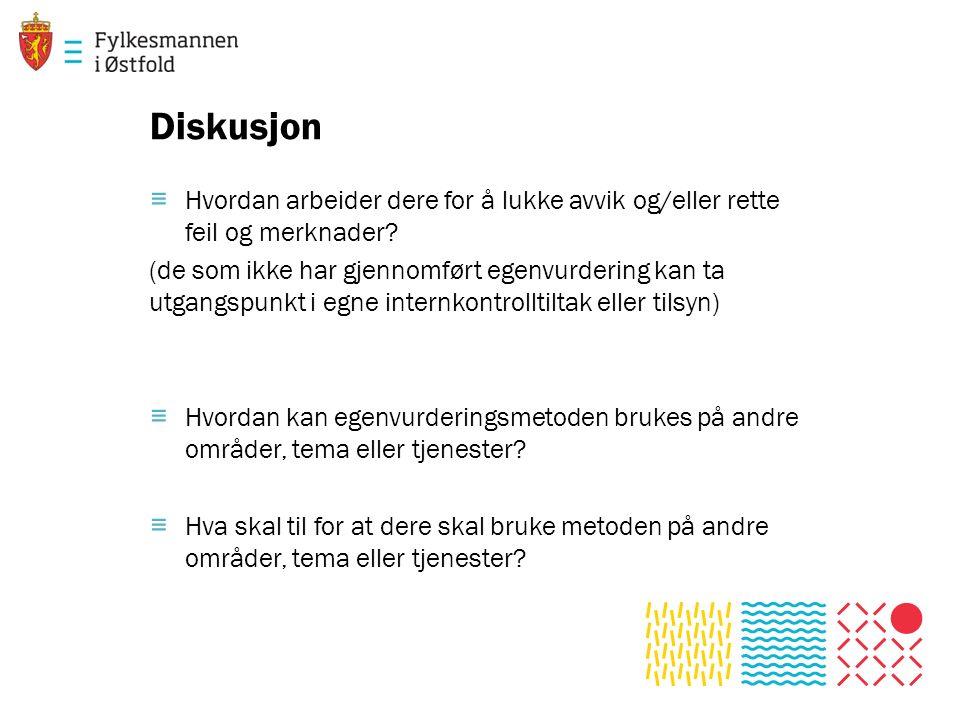 Diskusjon ≡ Hvordan arbeider dere for å lukke avvik og/eller rette feil og merknader.