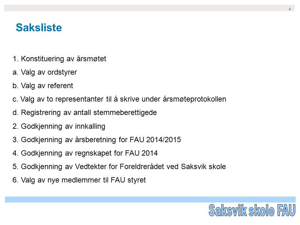 5 1.Konstituering av årsmøtet –a. Valg av ordstyrer Her forslår FAU, Aslaug Rustad –b.