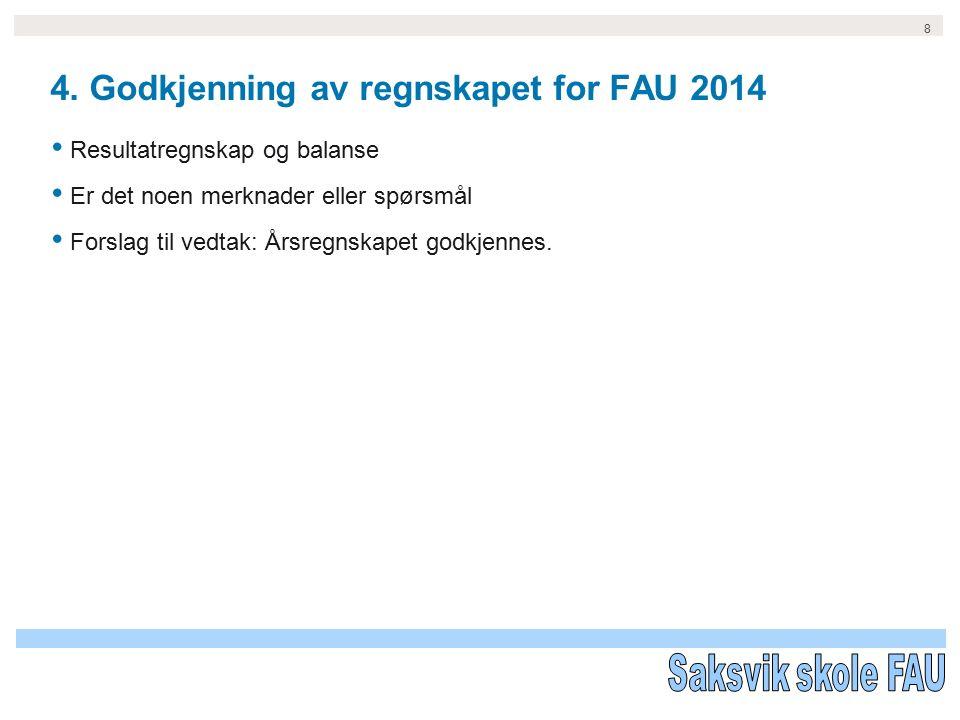 8 4. Godkjenning av regnskapet for FAU 2014 Resultatregnskap og balanse Er det noen merknader eller spørsmål Forslag til vedtak: Årsregnskapet godkjen
