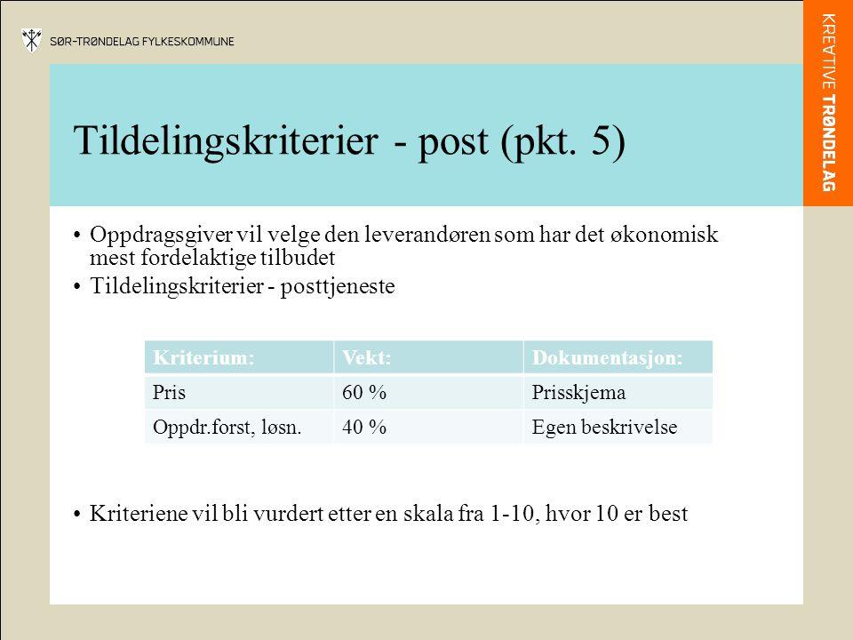 Tildelingskriterier - post (pkt.
