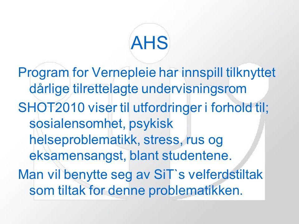 AHS Program for Vernepleie har innspill tilknyttet dårlige tilrettelagte undervisningsrom SHOT2010 viser til utfordringer i forhold til; sosialensomhet, psykisk helseproblematikk, stress, rus og eksamensangst, blant studentene.