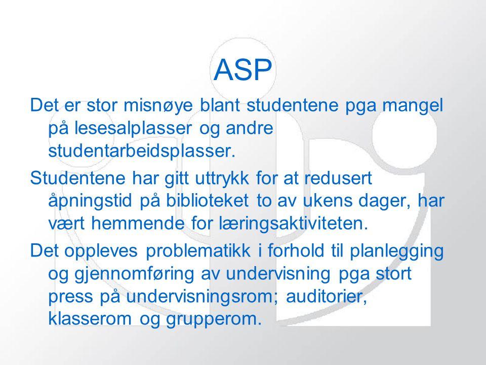 ASP Det er stor misnøye blant studentene pga mangel på lesesalplasser og andre studentarbeidsplasser.