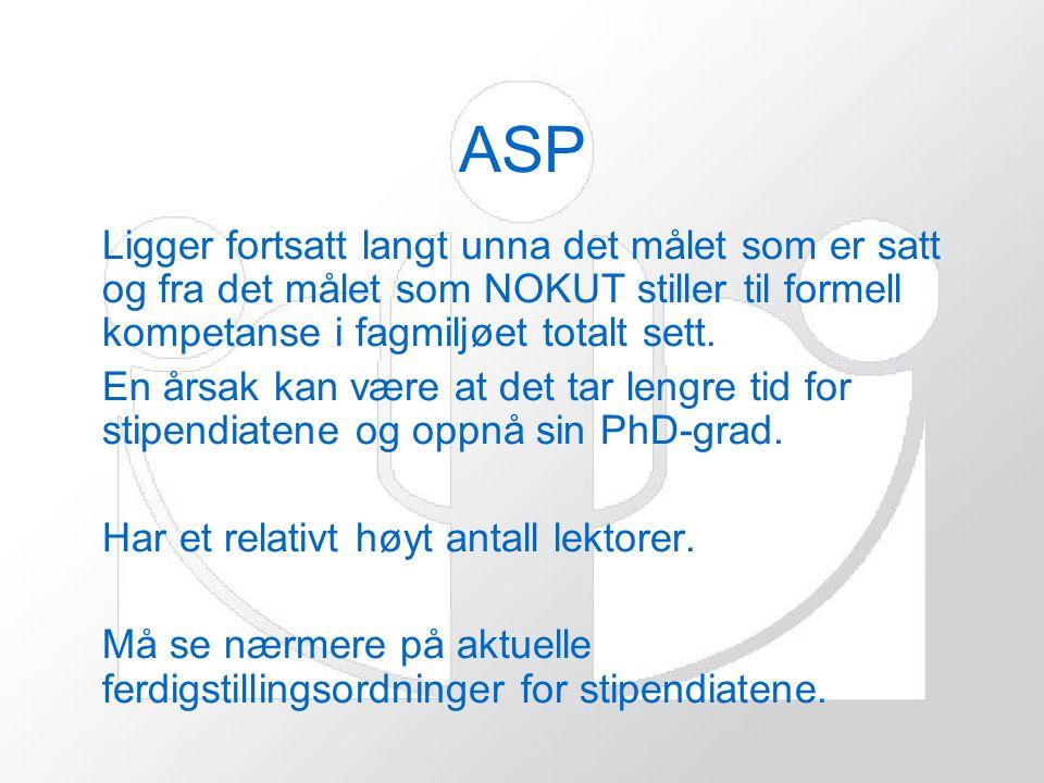 ASP Ligger fortsatt langt unna det målet som er satt og fra det målet som NOKUT stiller til formell kompetanse i fagmiljøet totalt sett.