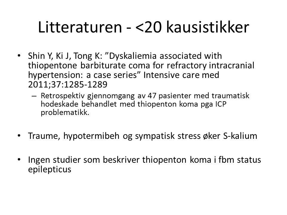 "Litteraturen - <20 kausistikker Shin Y, Ki J, Tong K: ""Dyskaliemia associated with thiopentone barbiturate coma for refractory intracranial hypertensi"