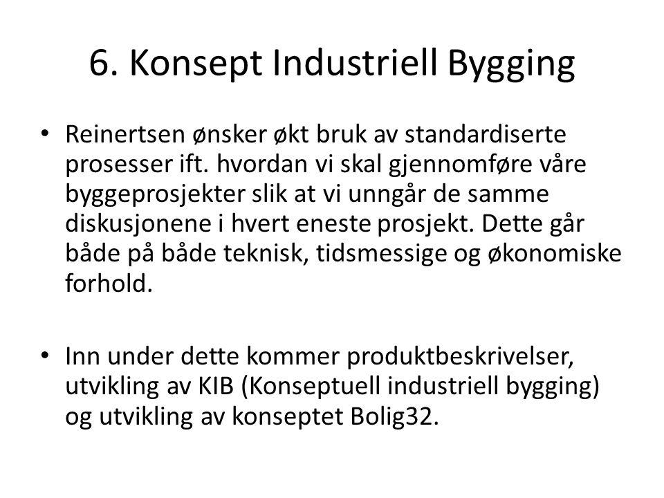 6. Konsept Industriell Bygging Reinertsen ønsker økt bruk av standardiserte prosesser ift.