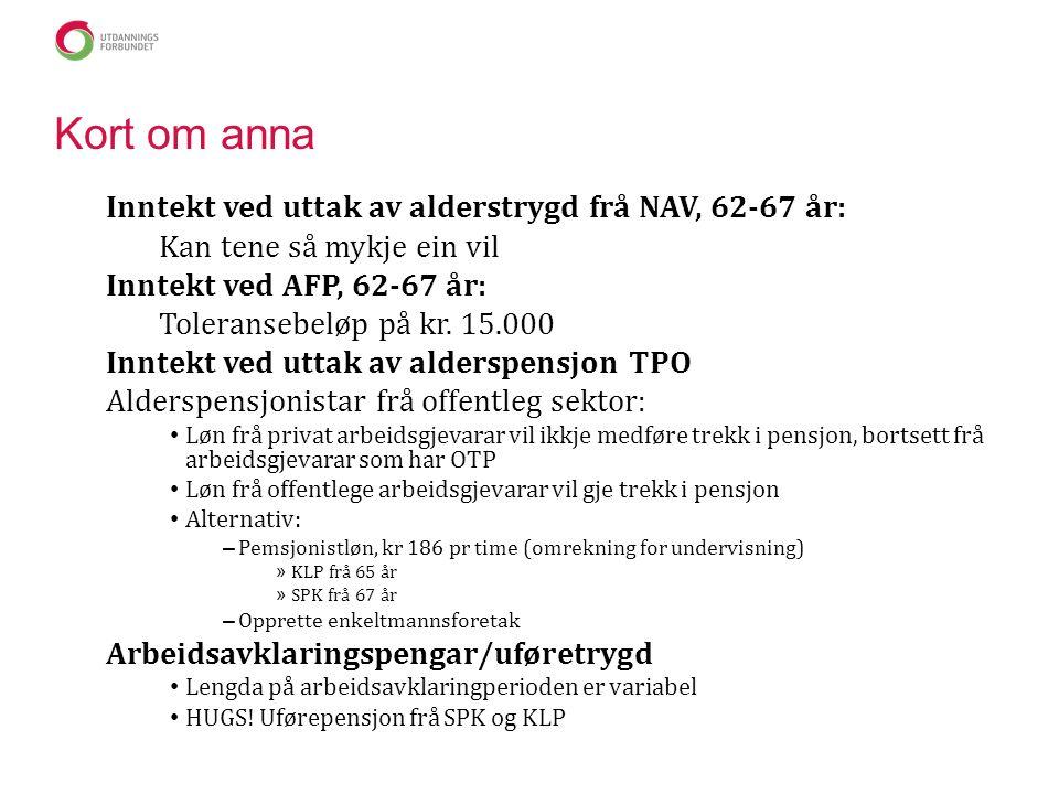 Kort om anna Inntekt ved uttak av alderstrygd frå NAV, 62-67 år: Kan tene så mykje ein vil Inntekt ved AFP, 62-67 år: Toleransebeløp på kr.