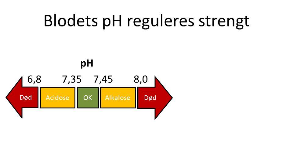 Blodets pH reguleres strengt OKAcidoseAlkalose Død 7,357,456,88,0 pH
