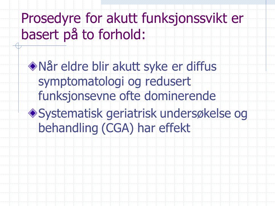 Akutt funksjonssvikt prosedyre Definere akutt funksjonssvikt Presentasjon av akutt sykdom hos eldre Forekomst og karakteristiska Årsaker Intervensjon ved akutt funksjonssvikt Prosedyren