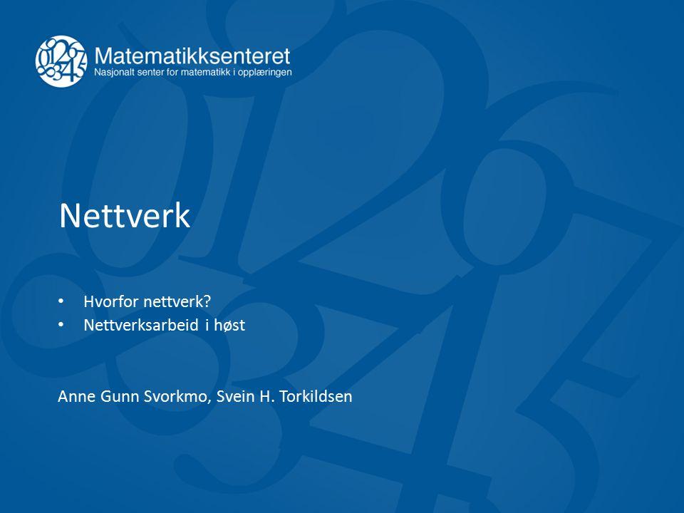 Nettverk Hvorfor nettverk? Nettverksarbeid i høst Anne Gunn Svorkmo, Svein H. Torkildsen