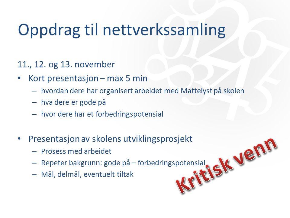 Oppdrag til nettverkssamling 11., 12. og 13.