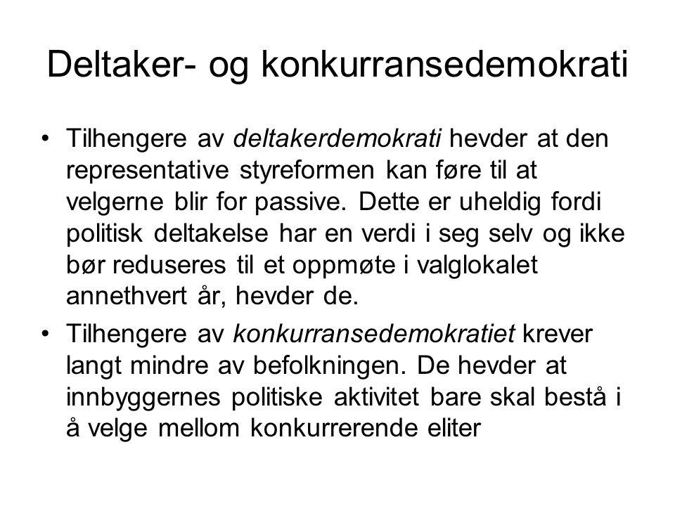Deltaker- og konkurransedemokrati Tilhengere av deltakerdemokrati hevder at den representative styreformen kan føre til at velgerne blir for passive.