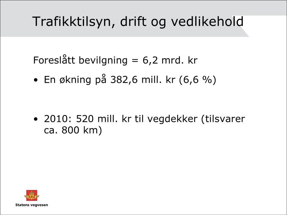 Trafikktilsyn, drift og vedlikehold Foreslått bevilgning = 6,2 mrd.