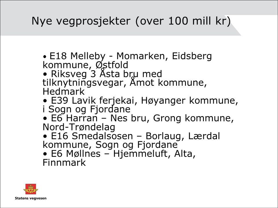 Nye vegprosjekter (over 100 mill kr) E18 Melleby - Momarken, Eidsberg kommune, Østfold Riksveg 3 Åsta bru med tilknytningsvegar, Åmot kommune, Hedmark E39 Lavik ferjekai, Høyanger kommune, i Sogn og Fjordane E6 Harran – Nes bru, Grong kommune, Nord-Trøndelag E16 Smedalsosen – Borlaug, Lærdal kommune, Sogn og Fjordane E6 Møllnes – Hjemmeluft, Alta, Finnmark