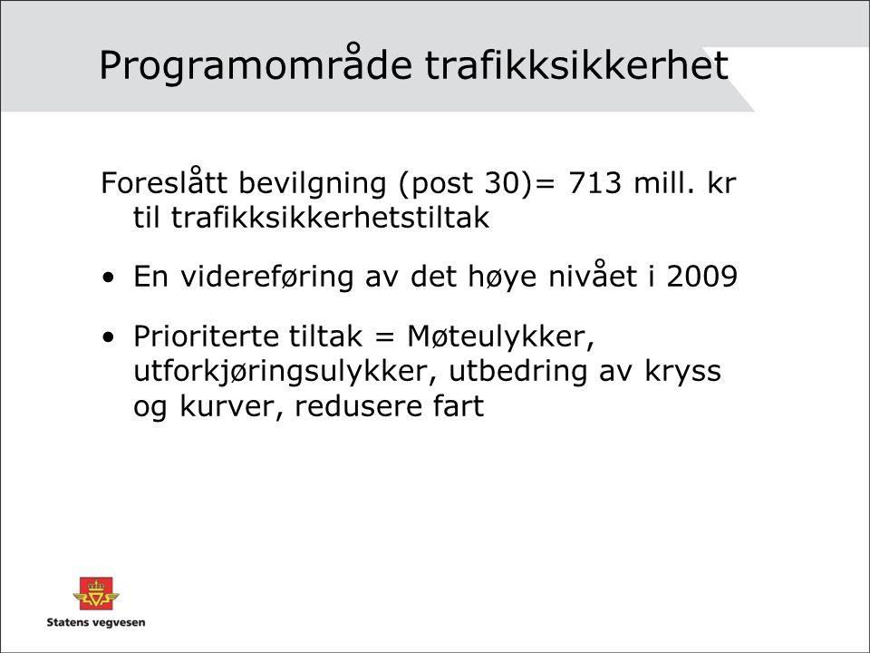 Programområde trafikksikkerhet Foreslått bevilgning (post 30)= 713 mill.