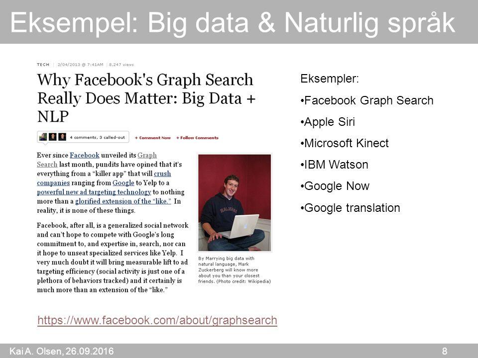 Kai A. Olsen, 26.09.2016 8 Eksempel: Big data & Naturlig språk Eksempler: Facebook Graph Search Apple Siri Microsoft Kinect IBM Watson Google Now Goog
