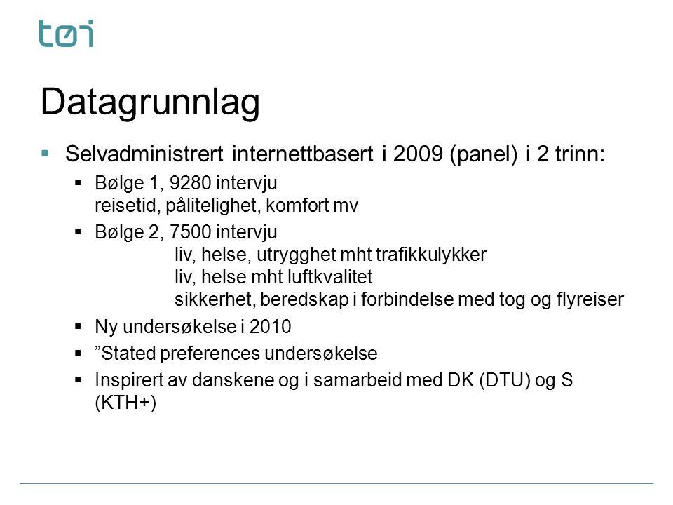 Datagrunnlag  Selvadministrert internettbasert i 2009 (panel) i 2 trinn:  Bølge 1, 9280 intervju reisetid, pålitelighet, komfort mv  Bølge 2, 7500 intervju liv, helse, utrygghet mht trafikkulykker liv, helse mht luftkvalitet sikkerhet, beredskap i forbindelse med tog og flyreiser  Ny undersøkelse i 2010  Stated preferences undersøkelse  Inspirert av danskene og i samarbeid med DK (DTU) og S (KTH+)