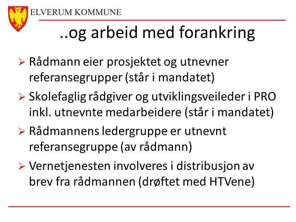 ..og arbeid med forankring  Rådmann eier prosjektet og utnevner referansegrupper (står i mandatet)  Skolefaglig rådgiver og utviklingsveileder i PRO inkl.