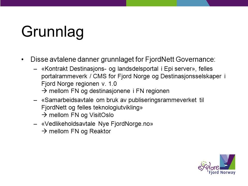 Grunnlag Disse avtalene danner grunnlaget for FjordNett Governance: –«Kontrakt Destinasjons- og landsdelsportal i Epi server», felles portalrammeverk / CMS for Fjord Norge og Destinasjonsselskaper i Fjord Norge regionen v.
