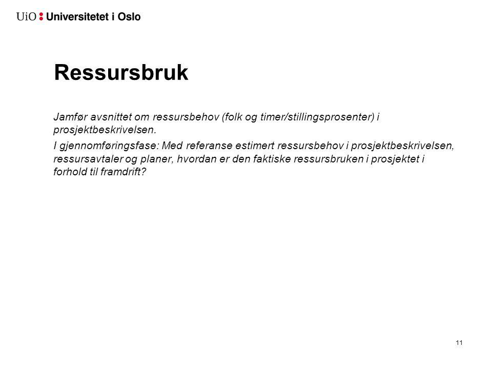 Ressursbruk Jamfør avsnittet om ressursbehov (folk og timer/stillingsprosenter) i prosjektbeskrivelsen.
