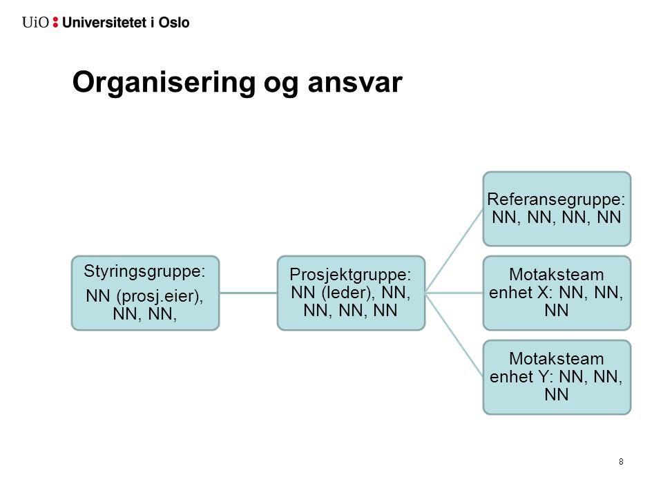 Organisering og ansvar Styringsgruppe: NN (prosj.eier), NN, NN, Prosjektgruppe: NN (leder), NN, NN, NN, NN Referansegruppe: NN, NN, NN, NN Motaksteam enhet X: NN, NN, NN Motaksteam enhet Y: NN, NN, NN 8