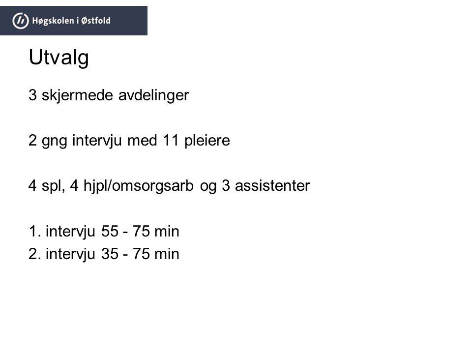 Utvalg 3 skjermede avdelinger 2 gng intervju med 11 pleiere 4 spl, 4 hjpl/omsorgsarb og 3 assistenter 1. intervju 55 - 75 min 2. intervju 35 - 75 min