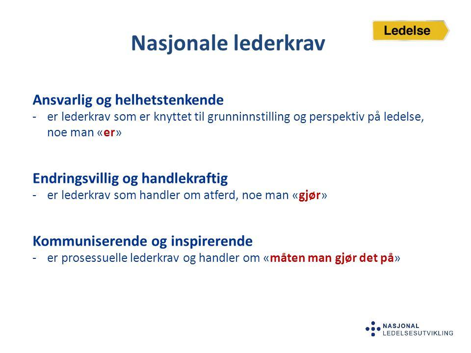 Nasjonale lederkrav Ansvarlig og helhetstenkende -er lederkrav som er knyttet til grunninnstilling og perspektiv på ledelse, noe man «er» Endringsvill