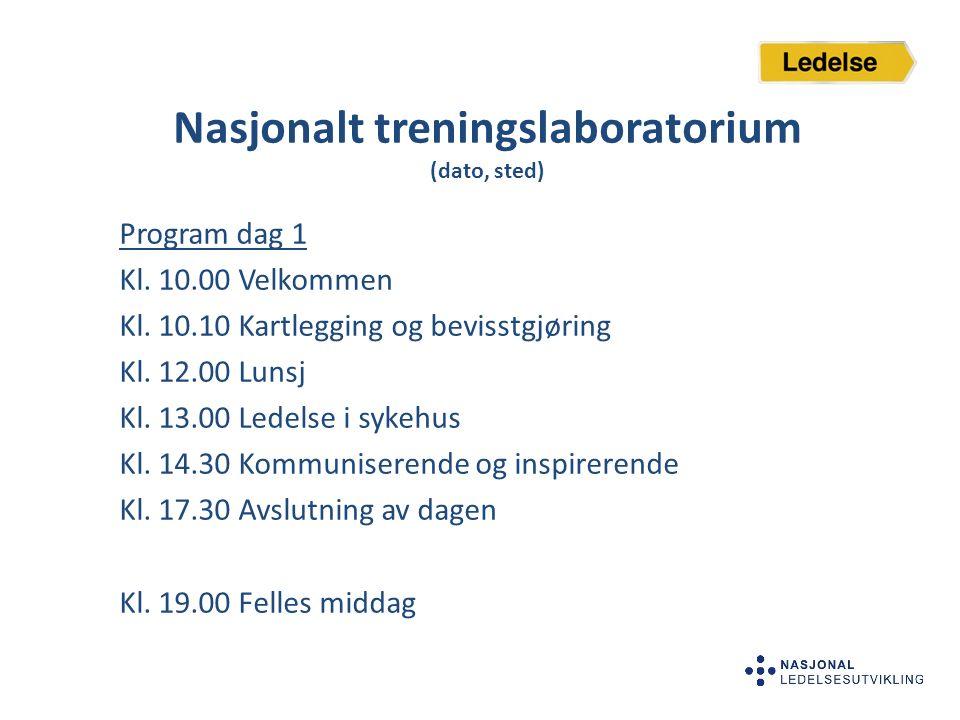 Nasjonalt treningslaboratorium (dato, sted) Program dag 1 Kl. 10.00 Velkommen Kl. 10.10 Kartlegging og bevisstgjøring Kl. 12.00 Lunsj Kl. 13.00 Ledels