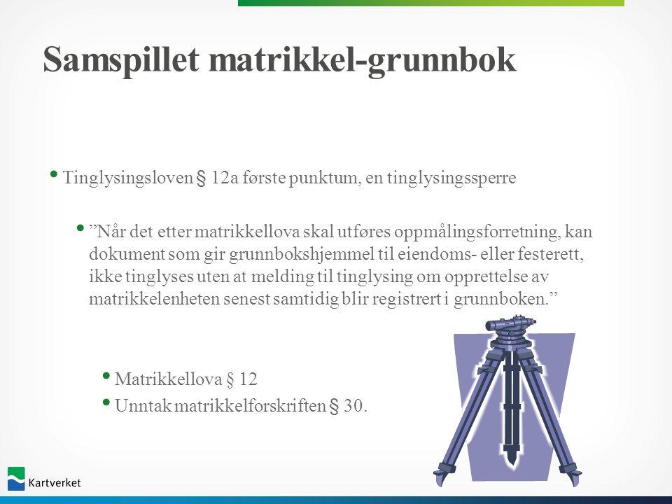 """Samspillet matrikkel-grunnbok Tinglysingsloven § 12a første punktum, en tinglysingssperre """"Når det etter matrikkellova skal utføres oppmålingsforretni"""