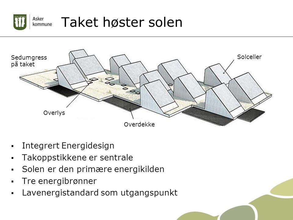 Taket høster solen  Integrert Energidesign  Takoppstikkene er sentrale  Solen er den primære energikilden  Tre energibrønner  Lavenergistandard som utgangspunkt Solceller Sedumgress på taket Overlys Overdekke