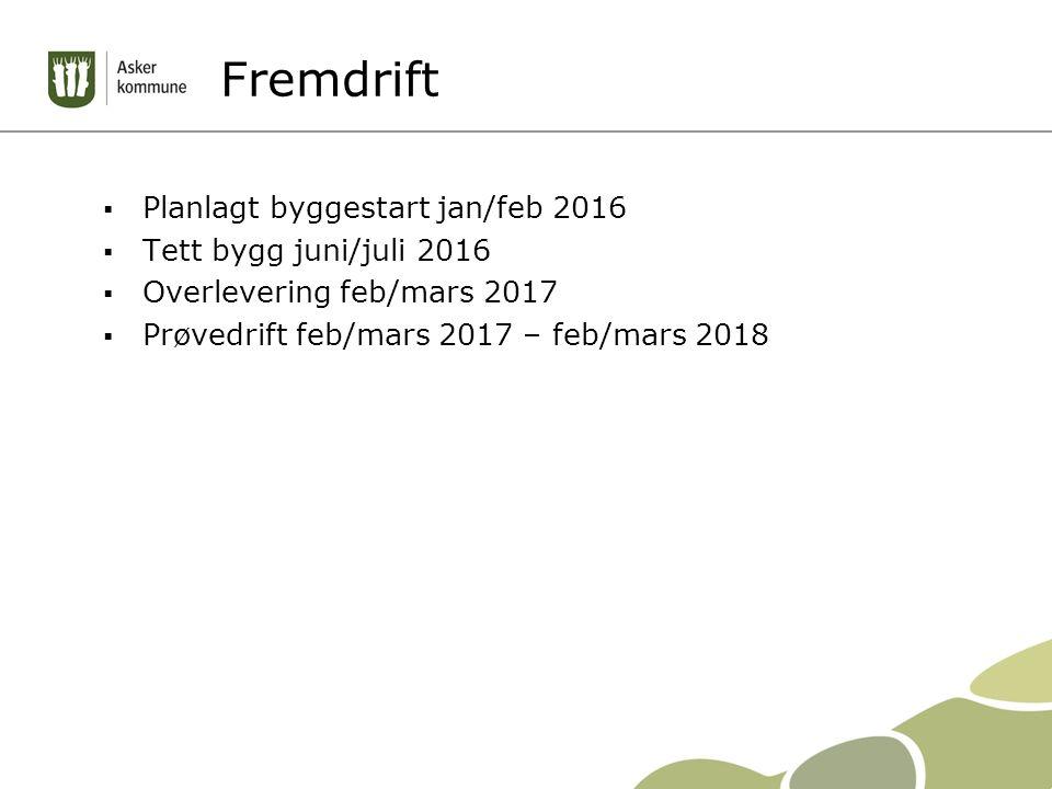 Fremdrift  Planlagt byggestart jan/feb 2016  Tett bygg juni/juli 2016  Overlevering feb/mars 2017  Prøvedrift feb/mars 2017 – feb/mars 2018