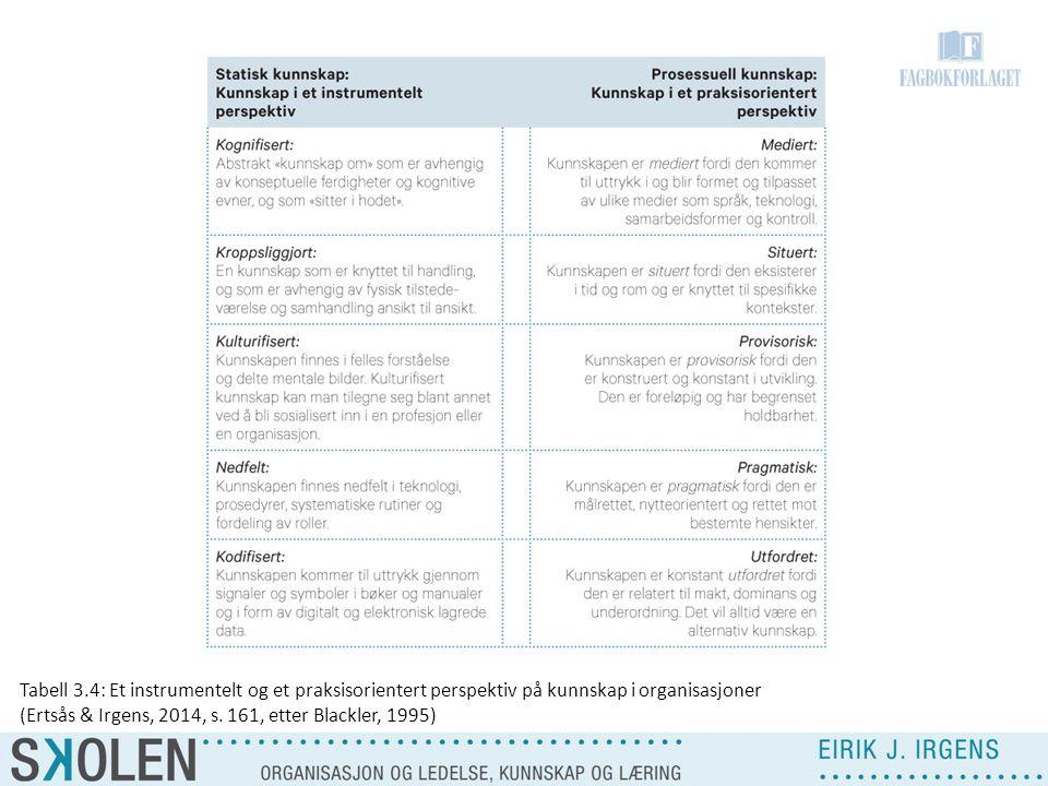 Tabell 3.4: Et instrumentelt og et praksisorientert perspektiv på kunnskap i organisasjoner (Ertsås & Irgens, 2014, s. 161, etter Blackler, 1995)