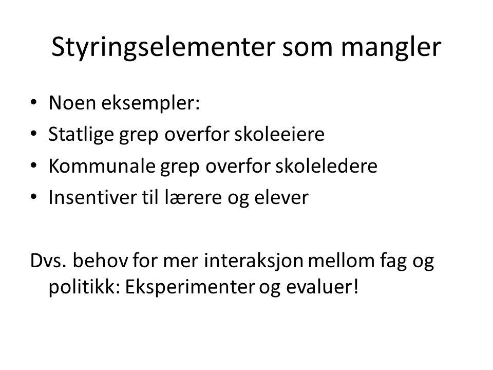 Styringssystemer i norsk utdanningsforskning Norske utdanningsforskere kan lite om styringssystemer og enda mindre om insentiver Hva skjer dersom en lager forskningsprogram med fokus på styring og insentiver?