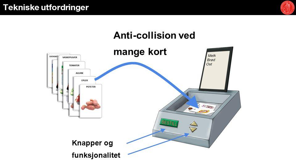 Tekniske utfordringer Anti-collision ved mange kort Knapper og funksjonalitet