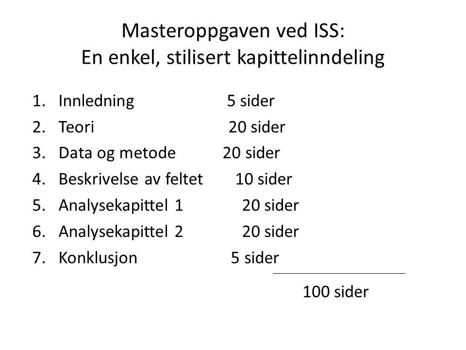 Masteroppgaven ved ISS: En enkel, stilisert kapittelinndeling 1.Innledning 5 sider 2.Teori 20 sider 3.Data og metode 20 sider 4.Beskrivelse av feltet 10 sider 5.Analysekapittel 120 sider 6.Analysekapittel 220 sider 7.Konklusjon 5 sider 100 sider
