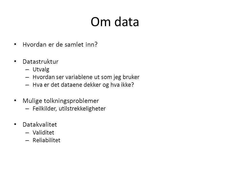 Om data Hvordan er de samlet inn.