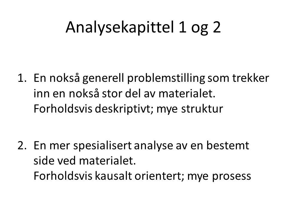 Analysekapittel 1 og 2 1.En nokså generell problemstilling som trekker inn en nokså stor del av materialet.
