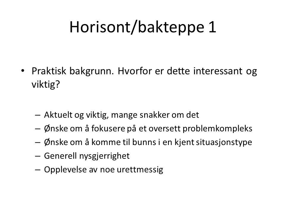 Horisont/bakteppe 1 Praktisk bakgrunn. Hvorfor er dette interessant og viktig.