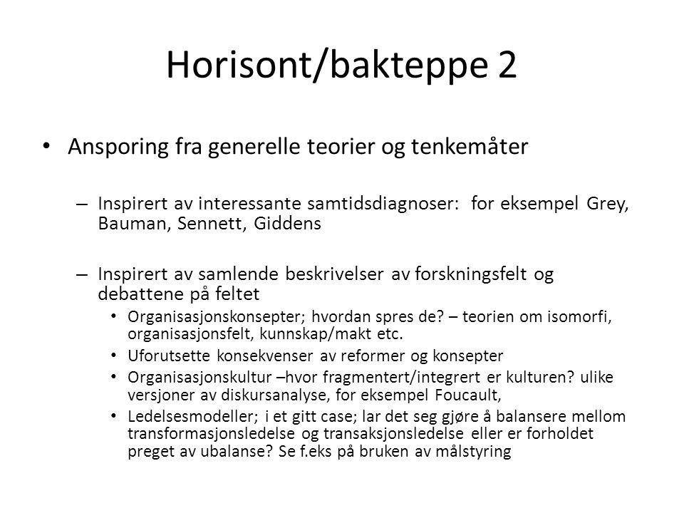 Horisont/bakteppe 2 Ansporing fra generelle teorier og tenkemåter – Inspirert av interessante samtidsdiagnoser: for eksempel Grey, Bauman, Sennett, Giddens – Inspirert av samlende beskrivelser av forskningsfelt og debattene på feltet Organisasjonskonsepter; hvordan spres de.