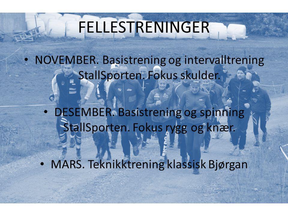FELLESTRENINGER NOVEMBER. Basistrening og intervalltrening StallSporten.