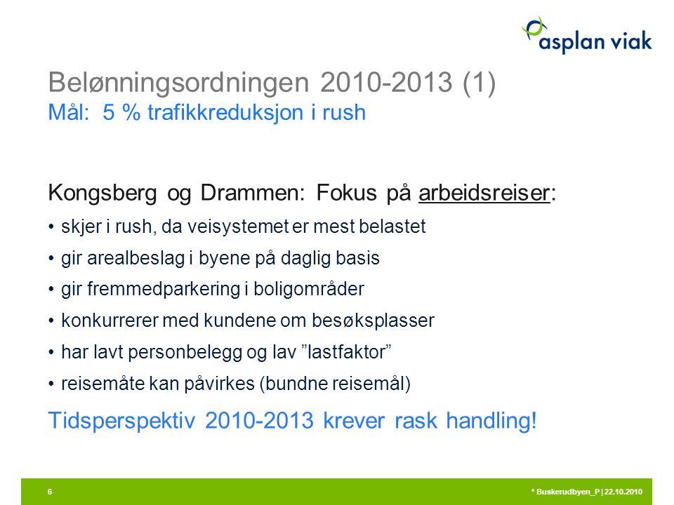 Belønningsordningen 2010-2013 (1) Mål: 5 % trafikkreduksjon i rush Kongsberg og Drammen: Fokus på arbeidsreiser: skjer i rush, da veisystemet er mest belastet gir arealbeslag i byene på daglig basis gir fremmedparkering i boligområder konkurrerer med kundene om besøksplasser har lavt personbelegg og lav lastfaktor reisemåte kan påvirkes (bundne reisemål) Tidsperspektiv 2010-2013 krever rask handling.