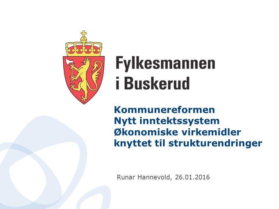 Kommunereformen Nytt inntektssystem Økonomiske virkemidler knyttet til strukturendringer Runar Hannevold, 26.01.2016