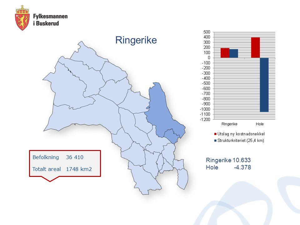 Befolkning 36 410 Totalt areal 1748 km2 Ringerike Ringerike 10.633 Hole -4.378