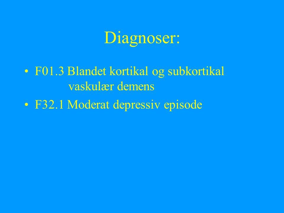 Diagnoser: F01.3 Blandet kortikal og subkortikal vaskulær demens F32.1 Moderat depressiv episode