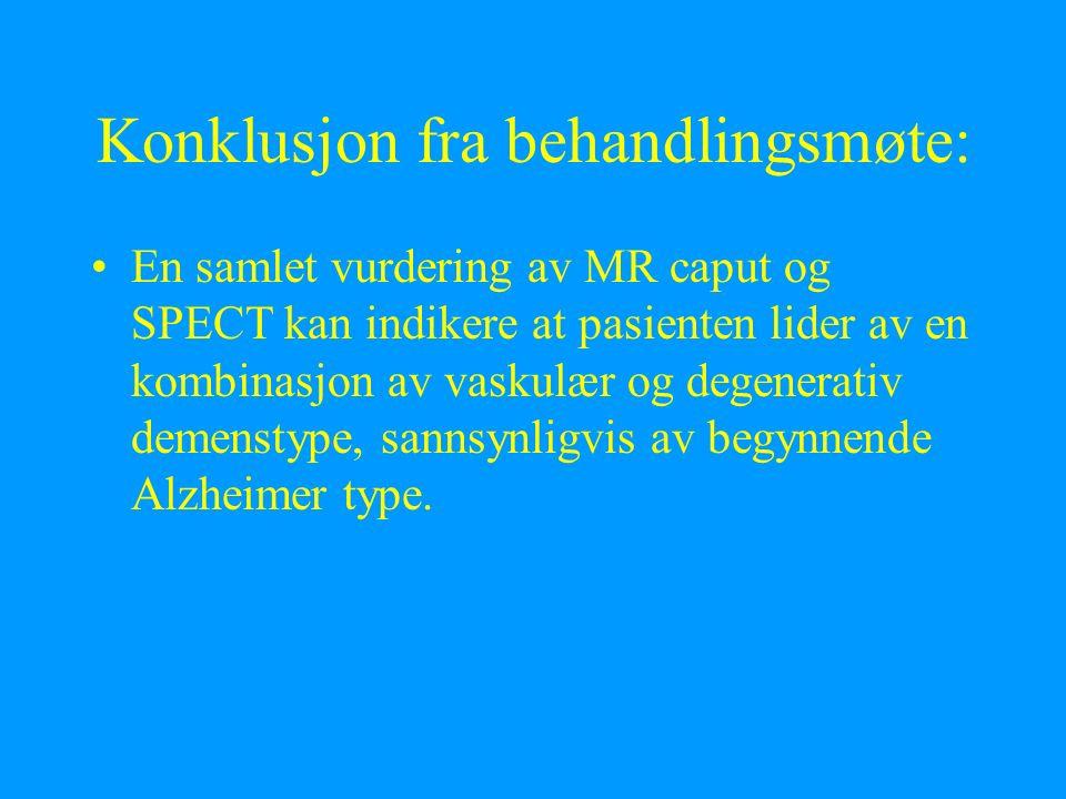 Konklusjon fra behandlingsmøte: En samlet vurdering av MR caput og SPECT kan indikere at pasienten lider av en kombinasjon av vaskulær og degenerativ demenstype, sannsynligvis av begynnende Alzheimer type.